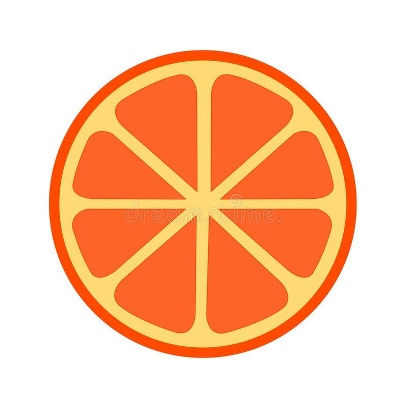 Half of an Orange Slice Illustration and Vector. 2 Dimensional illustration and vector of half an orange slice. Great for pattern, label flavors, and as vector illustration