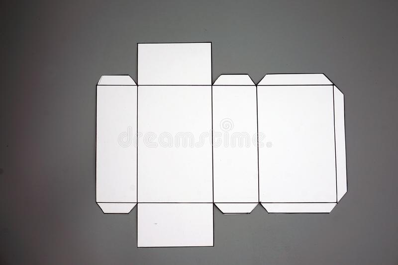 Geometry net of rectangular prism. 2-dimensional shape that can be folded to form a 3-dimensional shape or a solid. Unfolded three Dimensional Figures. Isolated royalty free stock image