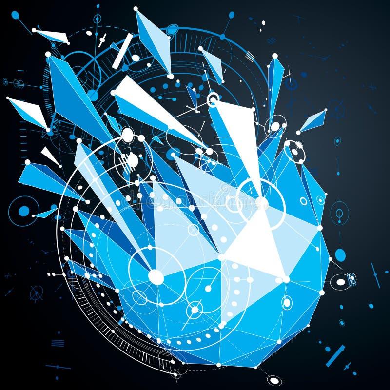 Dimensionale mechanische regeling, blauwe futuristische vectorengineerin vector illustratie