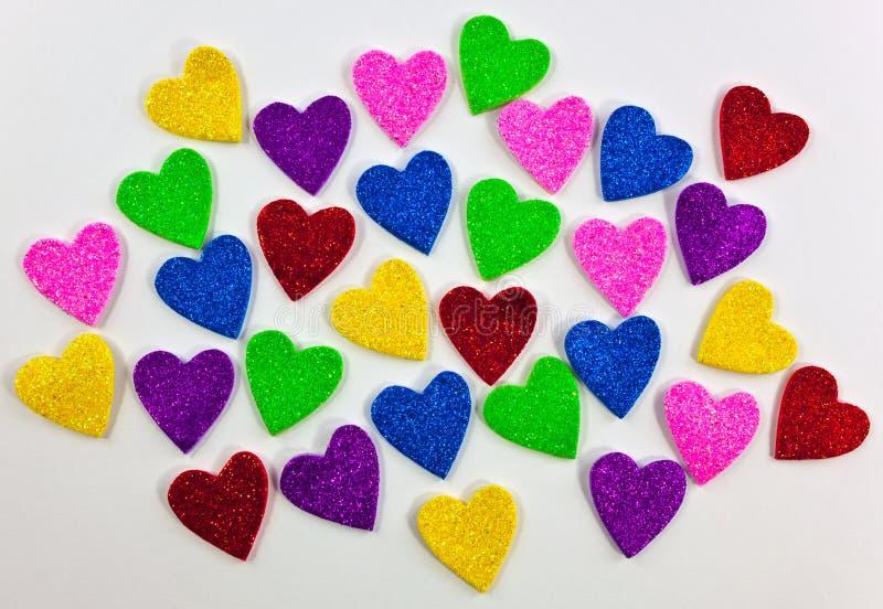 Dimensiones De Una Variable Coloridas Del Corazón De La Espuma Foto de archivo libre de regalías