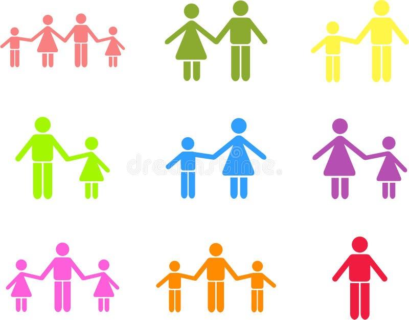 Dimensiones de una variable de la familia ilustración del vector