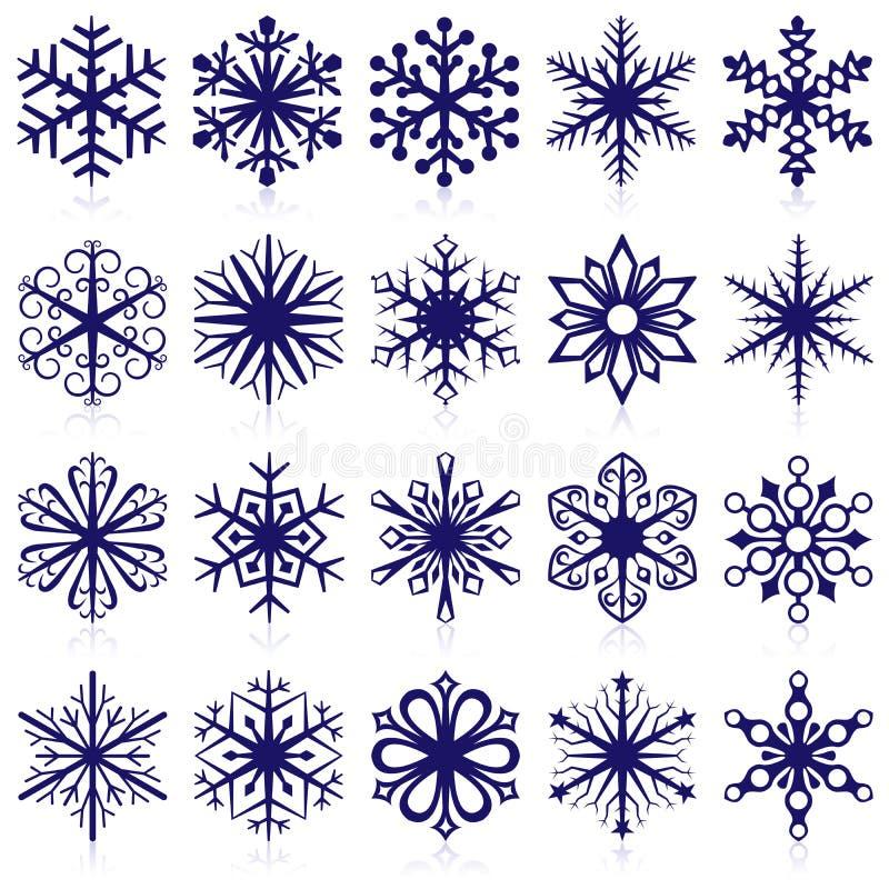 Dimensiones de una variable del copo de nieve stock de ilustración
