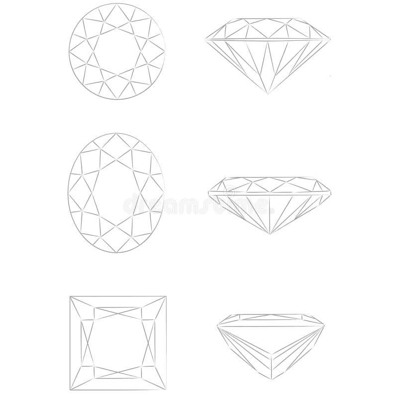 Dimensiones de una variable del diamante: - Óvalo - princesa brillante redonda ilustración del vector