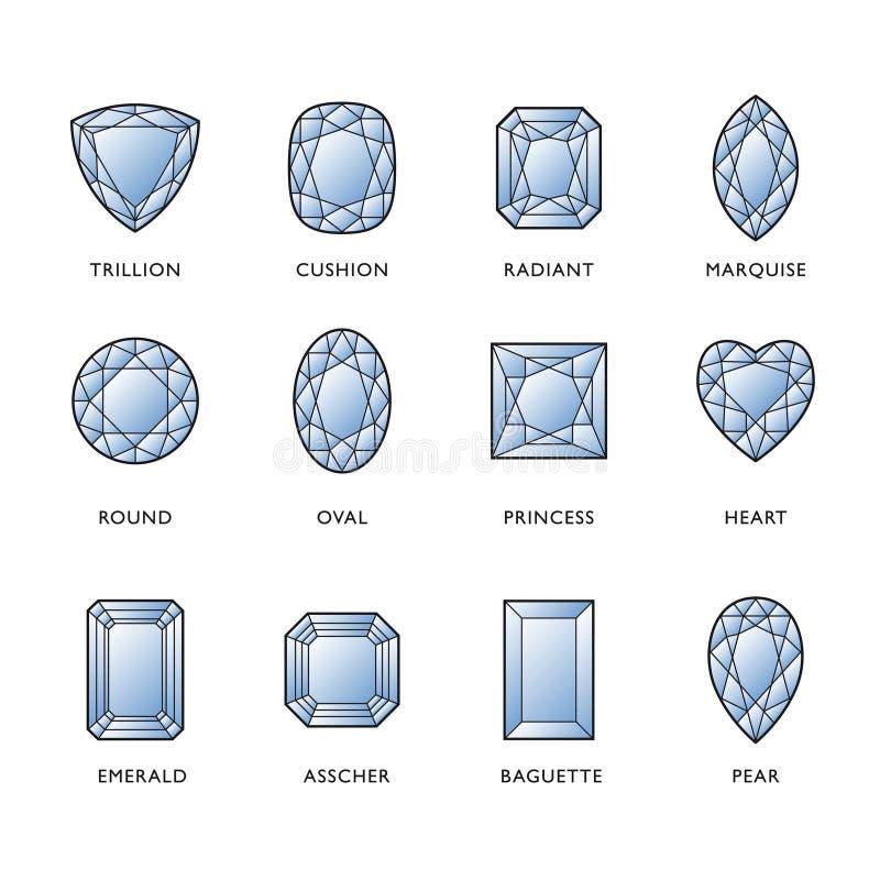 Dimensiones de una variable del diamante ilustración del vector