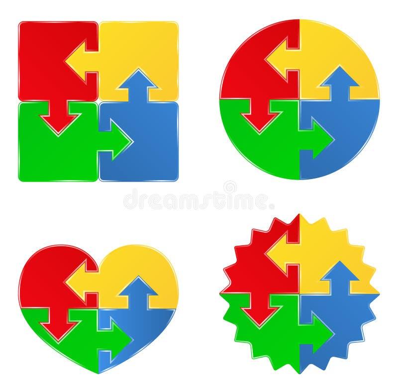 Dimensiones de una variable del rompecabezas con las flechas stock de ilustración