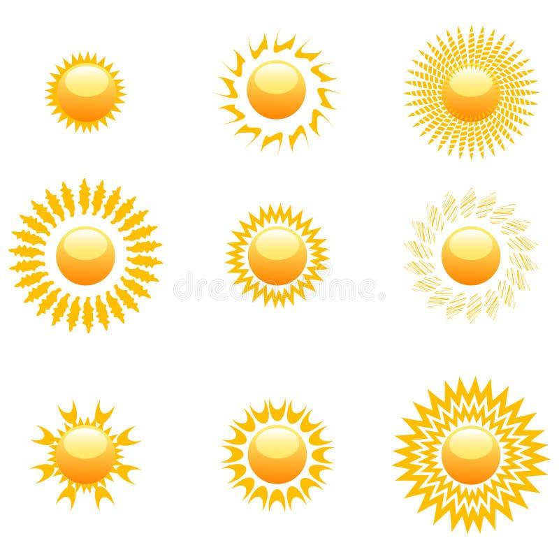 Dimensiones de una variable del sol stock de ilustración