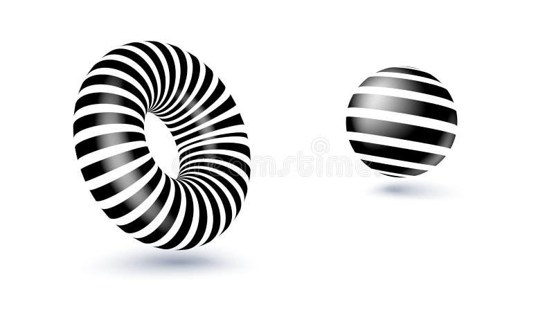 Dimensiones de una variable geométricas abstractas Forma blanco y negro aislada en blanco ejemplo del vector 3d, eps10 stock de ilustración