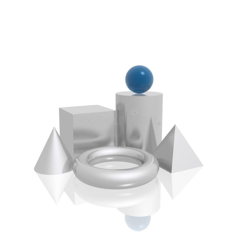 dimensiones de una variable simples 3D stock de ilustración