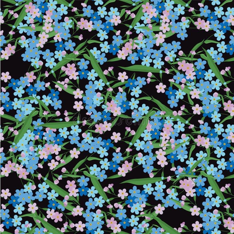 Dimenticare modello senza cuciture Fiori blu di rosa verdi sull'elemento piano s di progettazione del fondo nero royalty illustrazione gratis