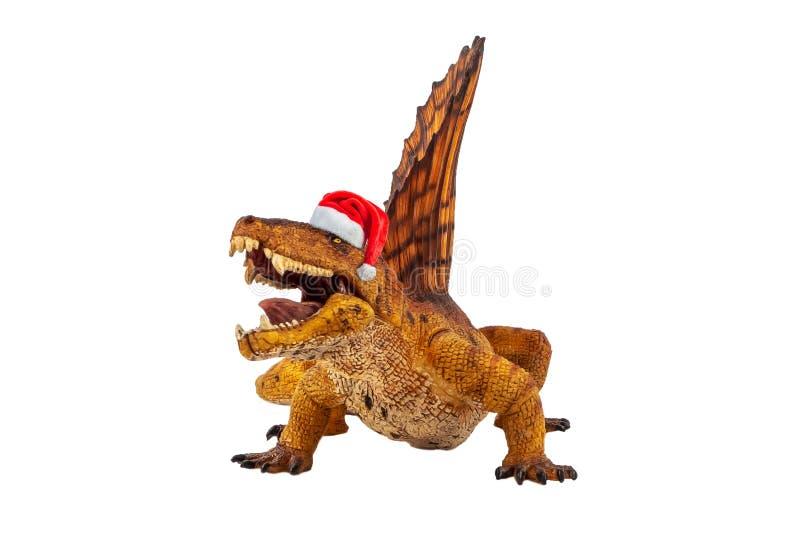 Dimetrodon Dinosaur z kapeluszem świątecznym na białym tle zdjęcie royalty free