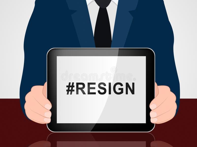 Dimetta Hashtag significa smesso o rassegnazione dal governo o da presidente di lavoro royalty illustrazione gratis