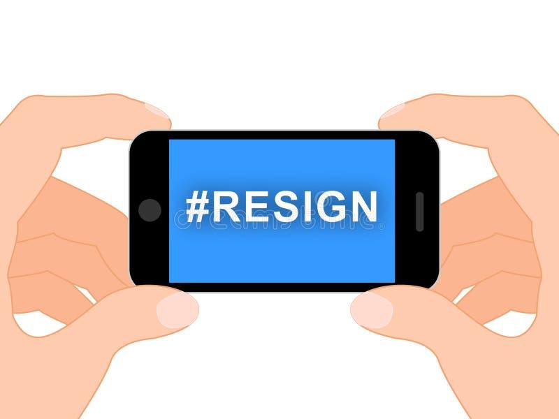 Dimetta Hashtag significa smesso o rassegnazione dal governo o da presidente di lavoro illustrazione vettoriale