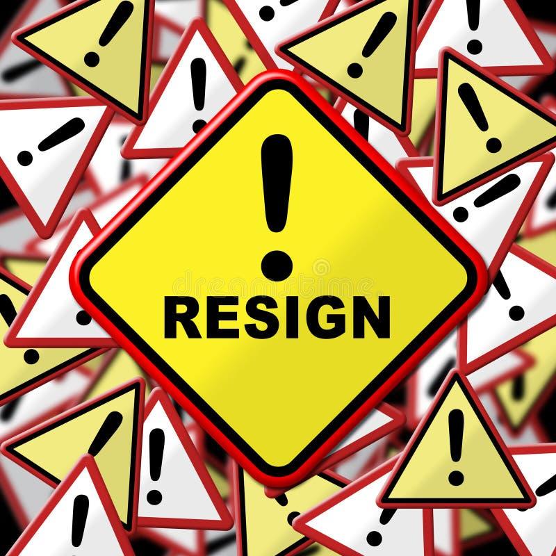 Dimetta i mezzi del segno smessi o la rassegnazione dal governo o da presidente di lavoro illustrazione vettoriale