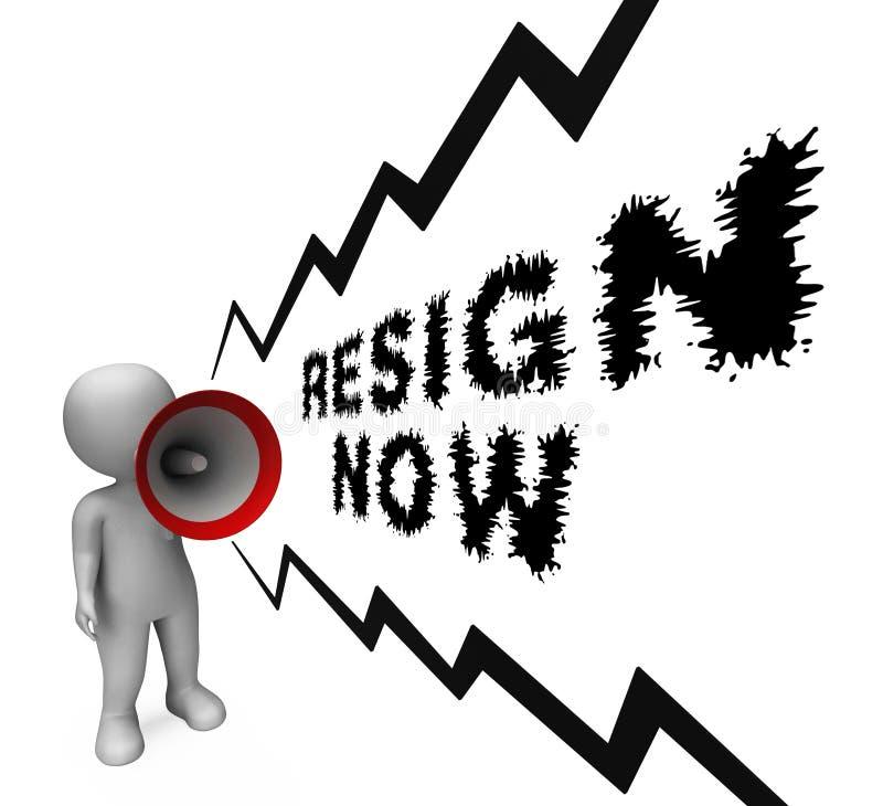 Dimetta ora significa smesso o rassegnazione dal governo o da presidente di lavoro royalty illustrazione gratis