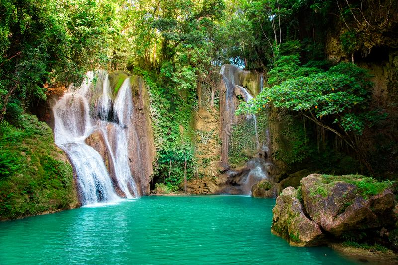 Dimiao Twin waterfalls in a mountain gorge in the tropical jungle of the Philippines, Bohol stock image