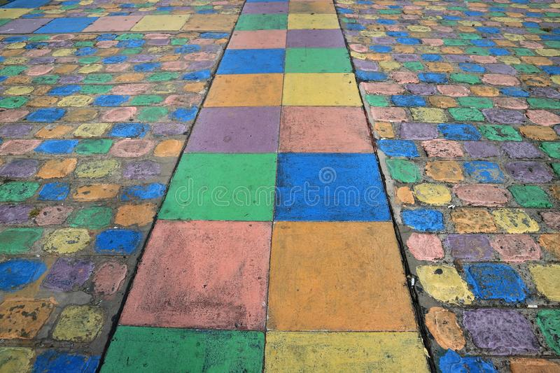 Diminishing Perspective of Colorful Walking Path at La Boca, Buenos Aires, Argentina. Texture Background royalty free stock image