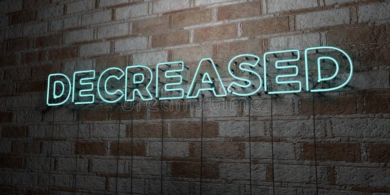 DIMINUÉ - Enseigne au néon rougeoyant sur le mur de maçonnerie - 3D a rendu l'illustration courante gratuite de redevance illustration libre de droits