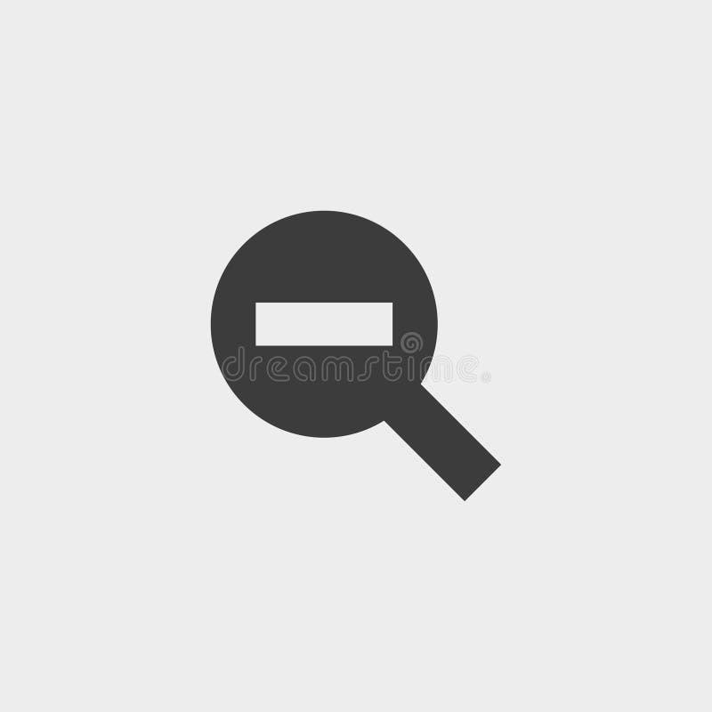 Diminua ícones das lentes de aumento negativo Zumbido para fora eps10 ilustração royalty free