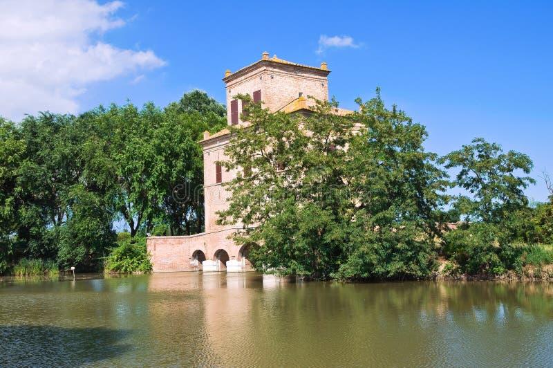 Diminua a torre. Mesola. Emilia-Romagna. Itália. imagens de stock