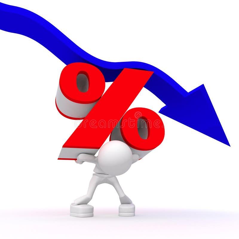 diminuez la cadence de pourcentage illustration de vecteur