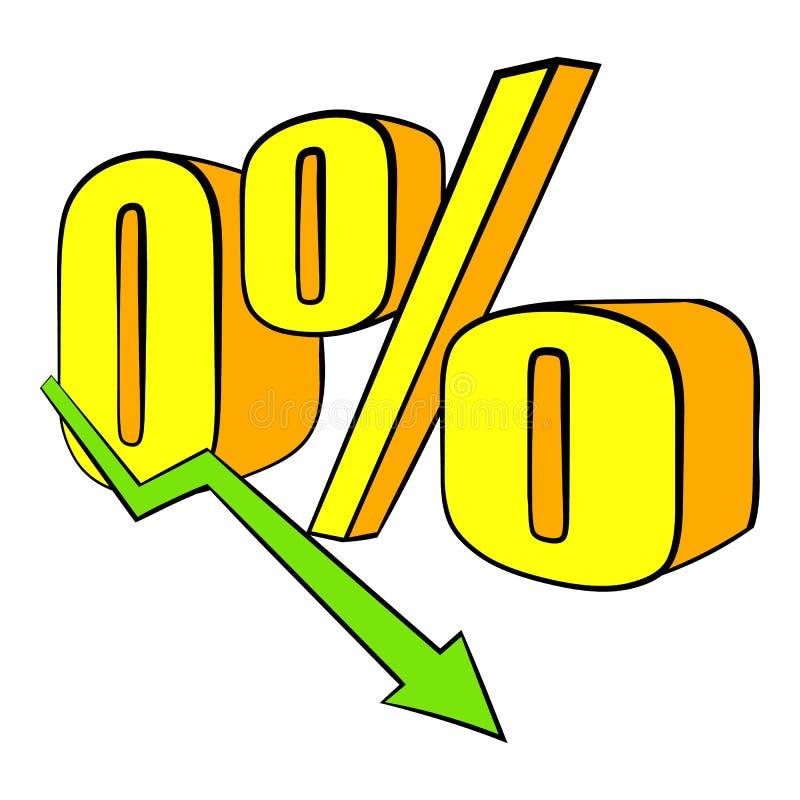 Diminuição em desenhos animados do ícone do rendimento ilustração stock