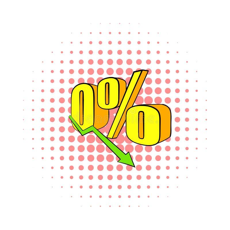 Diminuição no ícone do rendimento, estilo da banda desenhada ilustração do vetor
