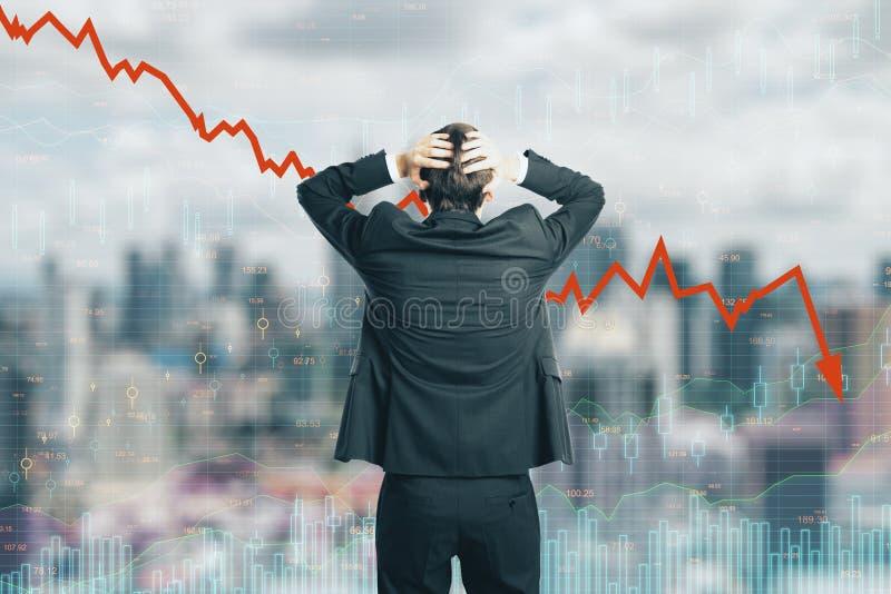 Diminuição, stats e conceito do investimento imagens de stock