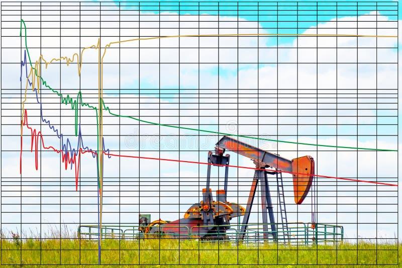 Diminuisca il grafico dell'analisi della curva che predice l'olio futuro o la produzione del pozzo di gas basata sulla storia pas illustrazione di stock