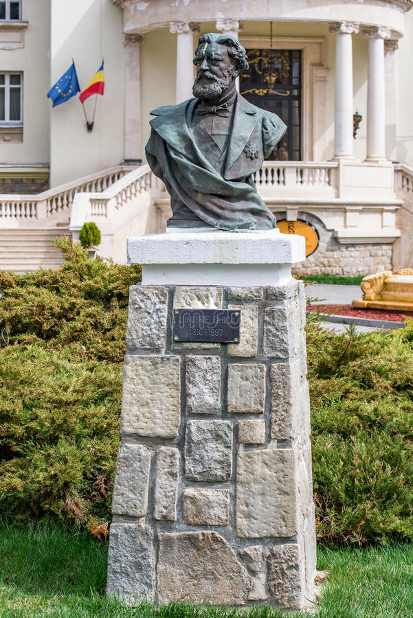 Dimitrie Ghica-standbeeld - mislukking stock foto
