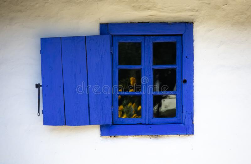 Dimitrie Gusti National Village Museum - A Blue Window stock photos