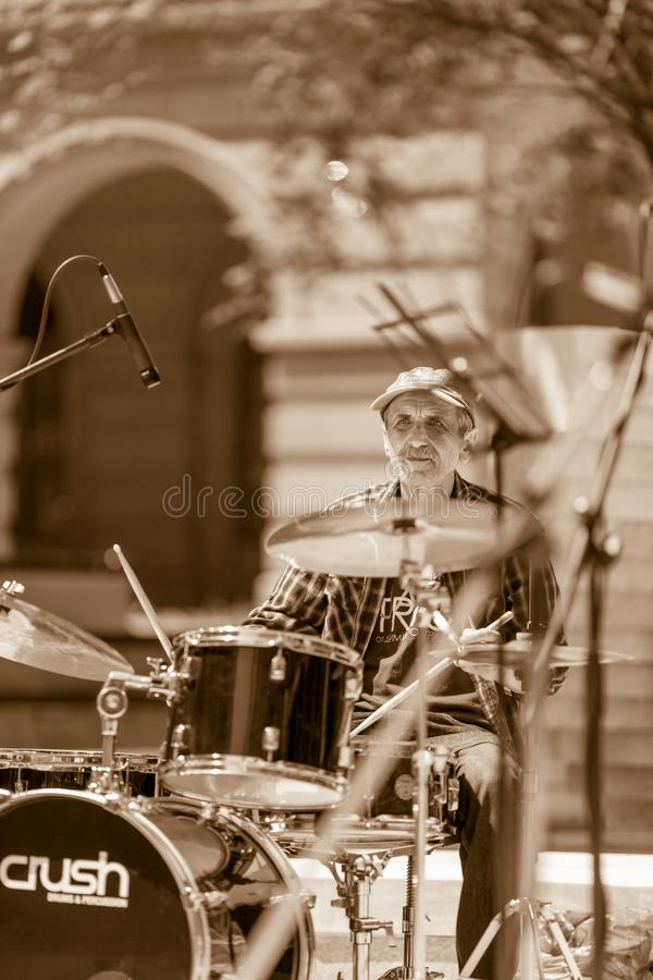 The jazz drummer royalty free stock image
