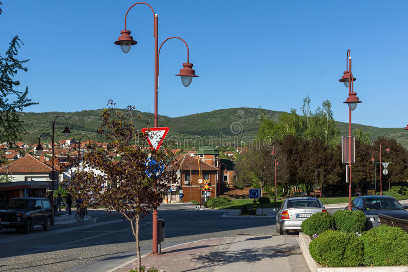 DIMITROVGRAD, SERBIA -16 APRIL 2016: Center of town of Dimitrovgrad, Pirot region, Serbia. DIMITROVGRAD, SERBIA -16 APRIL 2016: Center of town of Dimitrovgrad royalty free stock photography