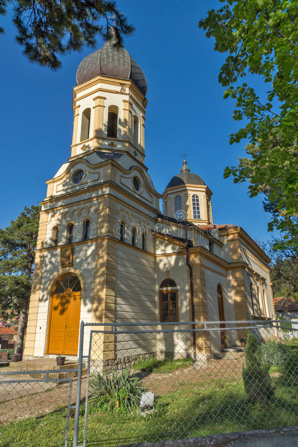 DIMITROVGRAD, SERBIA -16 APRIL 2016: The church Virgin Mary in Dimitrovgrad, Pirot Region, Serbia. DIMITROVGRAD, SERBIA -16 APRIL 2016: The church Virgin Mary in stock photo