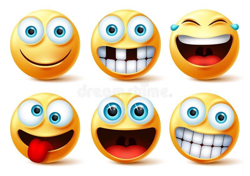 Dimley emojis-vektoransiktsuppsättning Smileys emotikoner och emoji söta ansikten i galna, roliga, upphetsade, skrattretande och  vektor illustrationer