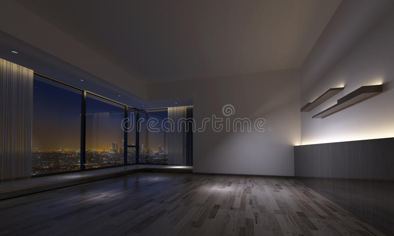 Download Dimly Lit Empty Room Facing Urban Skyline Stock Photo