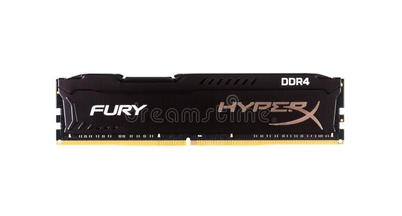 DIMM DDR 4 Wut-Gedächtnis RAM Module 16 GBs Kingston HyperX lokalisiert auf Draufsicht der weißen Hintergrundnahaufnahme stockfotos