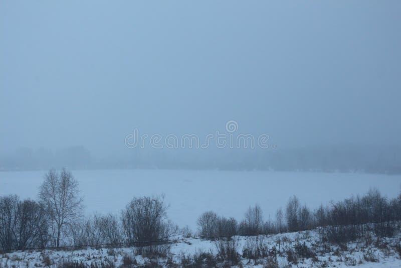Dimma över den djupfrysta sjön royaltyfri foto