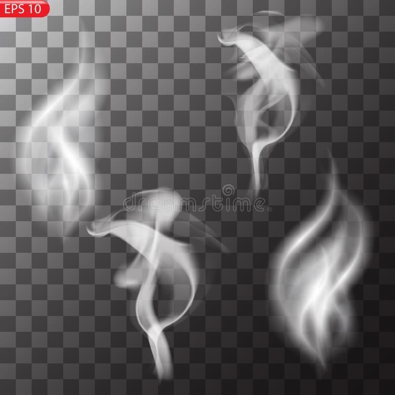 Dimma eller rök isolerad genomskinlig specialeffekt vektor illustrationer