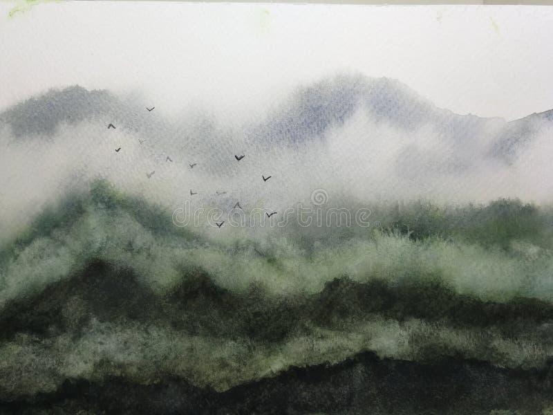 Dimma och fåglar för vattenfärglandskapberg traditionell orientalisk stil för färgpulverasia konst stock illustrationer