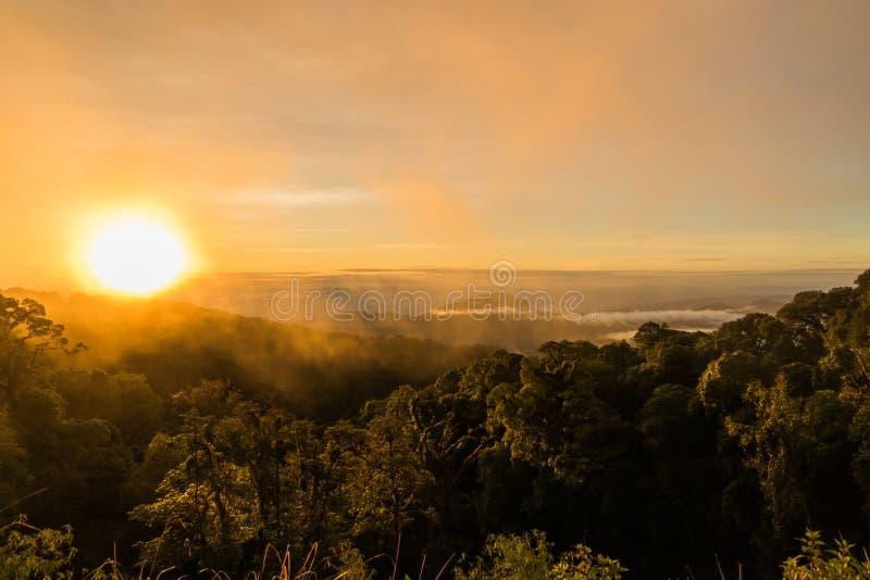 dimma och moln över berg arkivbilder