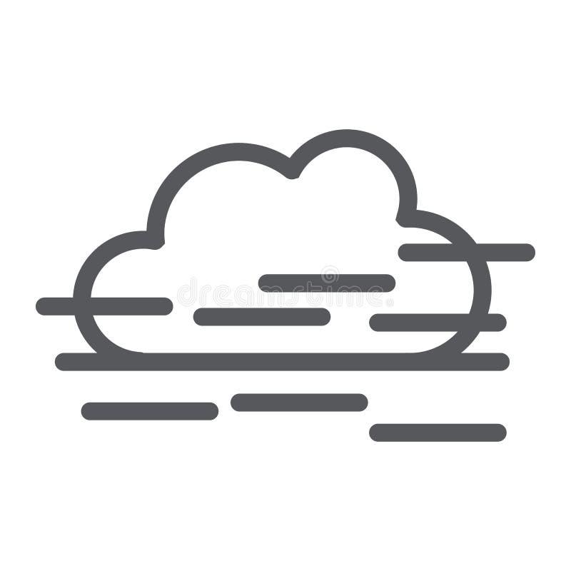 Dimmalinje symbol, väder och prognos, fuktighetstecken, vektordiagram, en linjär modell på en vit bakgrund vektor illustrationer