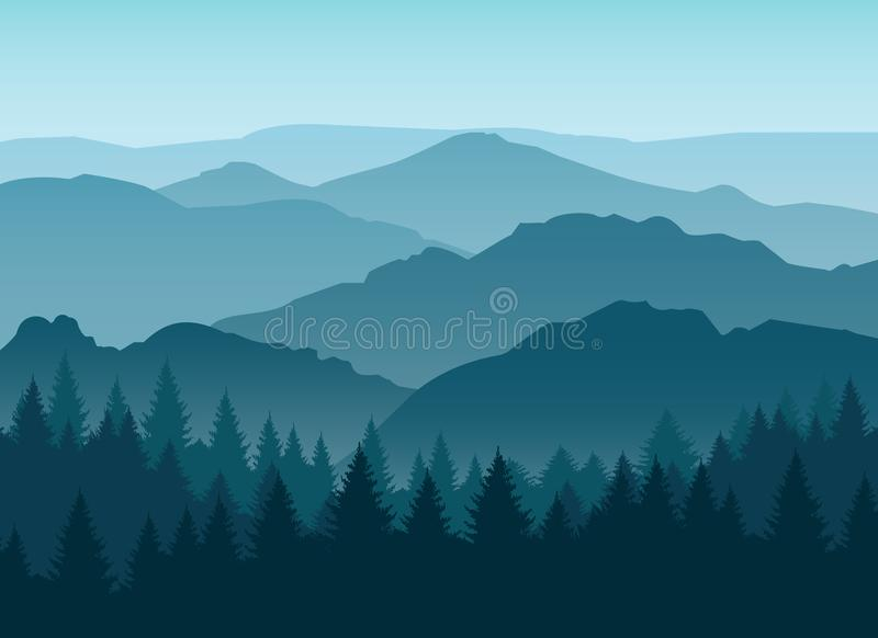 Dimmig blå bergkonturbakgrund vektor illustrationer