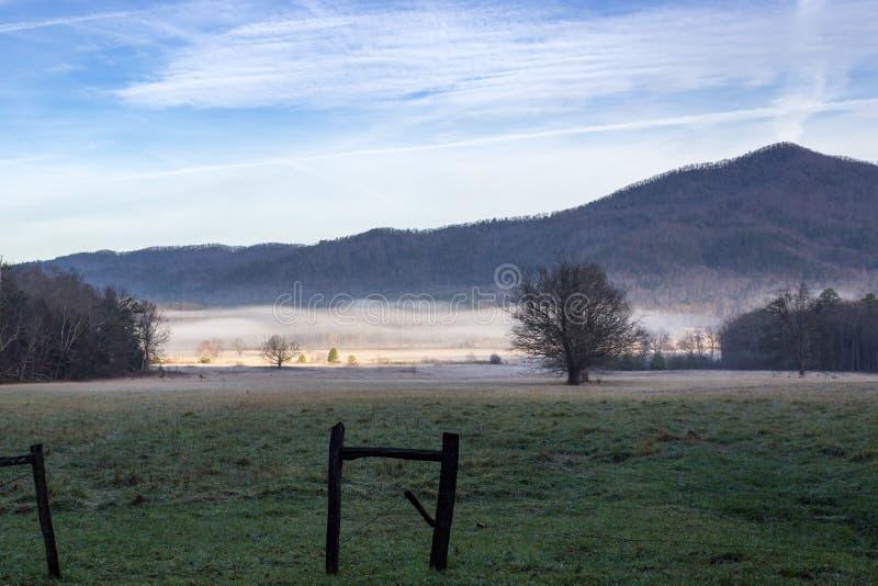 Dimmig cadesliten vikmorgon i stor nationalpark för rökiga berg royaltyfri fotografi