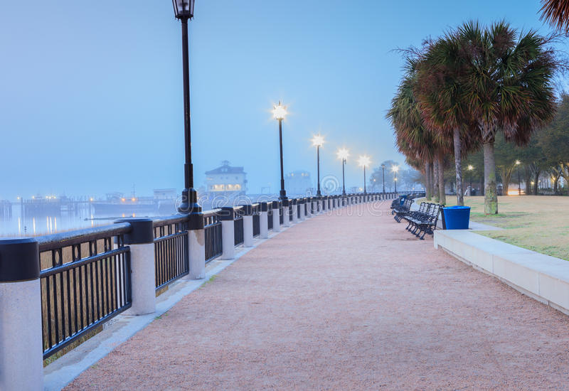 Dimmig morgon Charleston South Carolina Waterfront royaltyfri bild