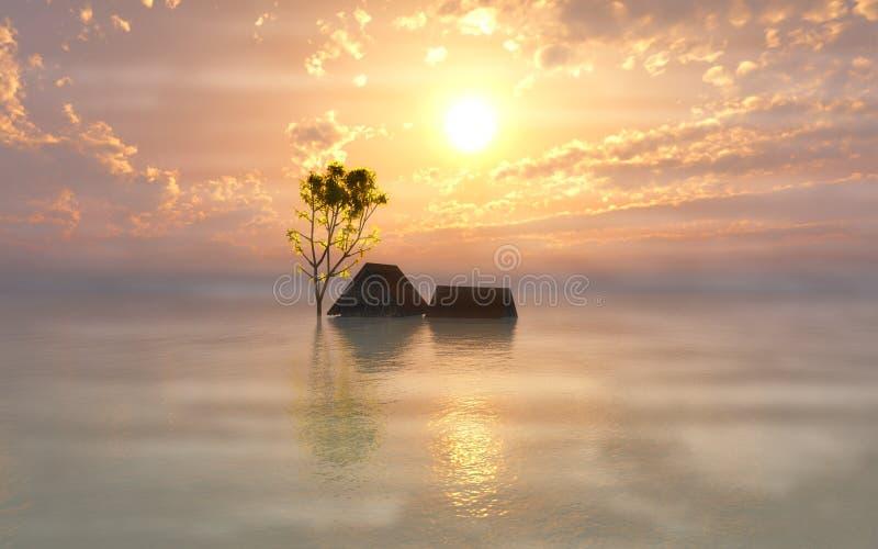 Dimmig morgon efter floden vektor illustrationer
