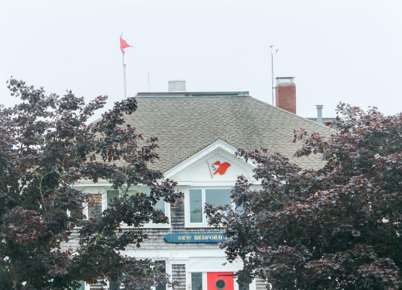 Dimmig morgon nya Bedford Yacht Club Padnaram Dartmouth Massachu royaltyfri bild