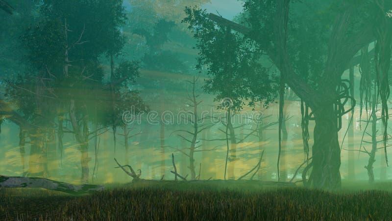 Dimmig skymning i mörk mystisk skog royaltyfri illustrationer