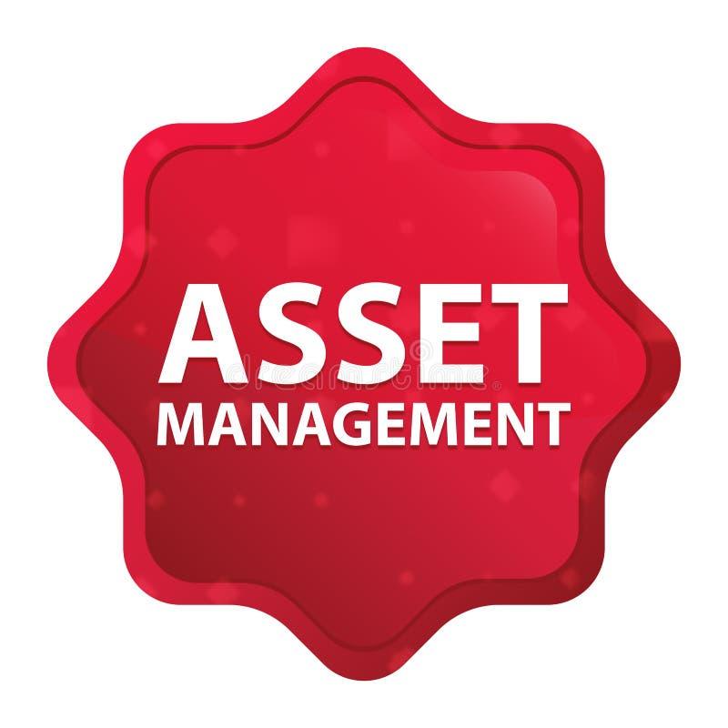 Dimmiga Asset Management steg den röda starburstklistermärkeknappen royaltyfri illustrationer