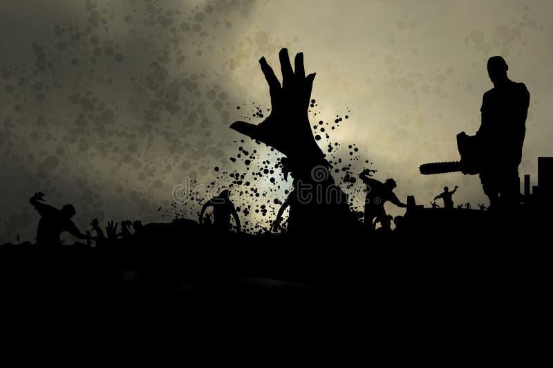 Dimmiga levande död 4 vektor illustrationer