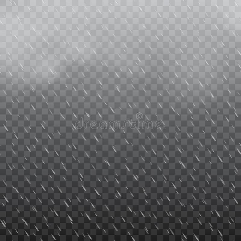 Dimmigt regnigt väder i genomskinlig bakgrund vektor stock illustrationer